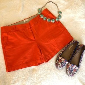 J. Crew Chino Orange Flat Front Shorts